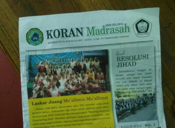 Koran Madrasah Organisasi Siswa Terbit Menjelang Liburan