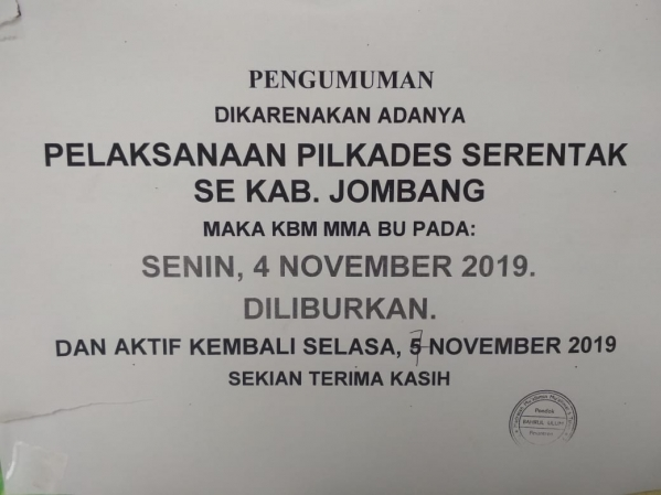 Turut Mensukseskan Pilkades Serentak Di Jombang Madrasah Diliburkan